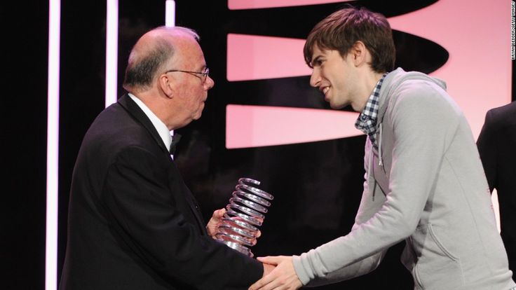 """Steve Wilhite, left, received a Webby Award from Tumblrs David Karp for his invention of the animated GIF format.  """"It's pronounced JIF, not GIF."""""""