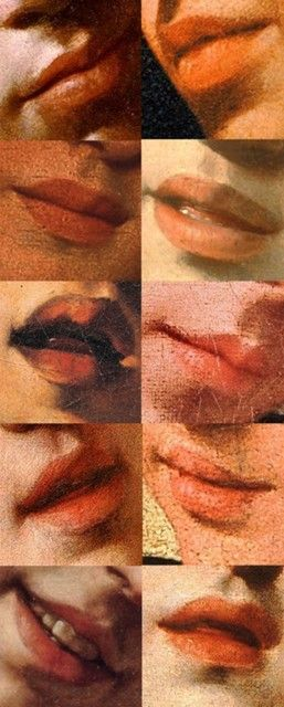 Study of lips. Paintings by the Baroque artist, Caravaggio.