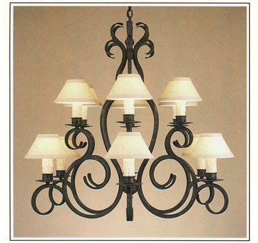 10134 38 n twelve light two tier iron chandelier finish shown damascus shade