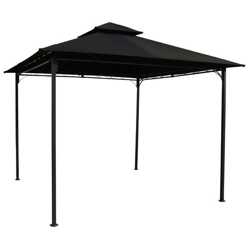 10ft x 10ft outdoor gazebo with black weather resistant fabric canopy