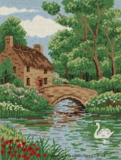 Needlepoint canvas careens cottage | Riverside Cottage Needlepoint Tapestry Kit by Anchor