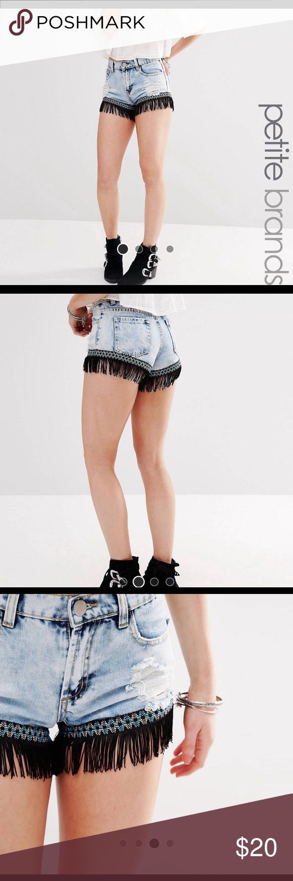 Fringed Denim Shorts ASOS Petite Acid Wash Fringed Hem Denim Shorts - UK 14 / US 10 - only worn once - Fringe detail is SUPER cute, perfect Festival shorts ASOS Petite Shorts Jean Shorts