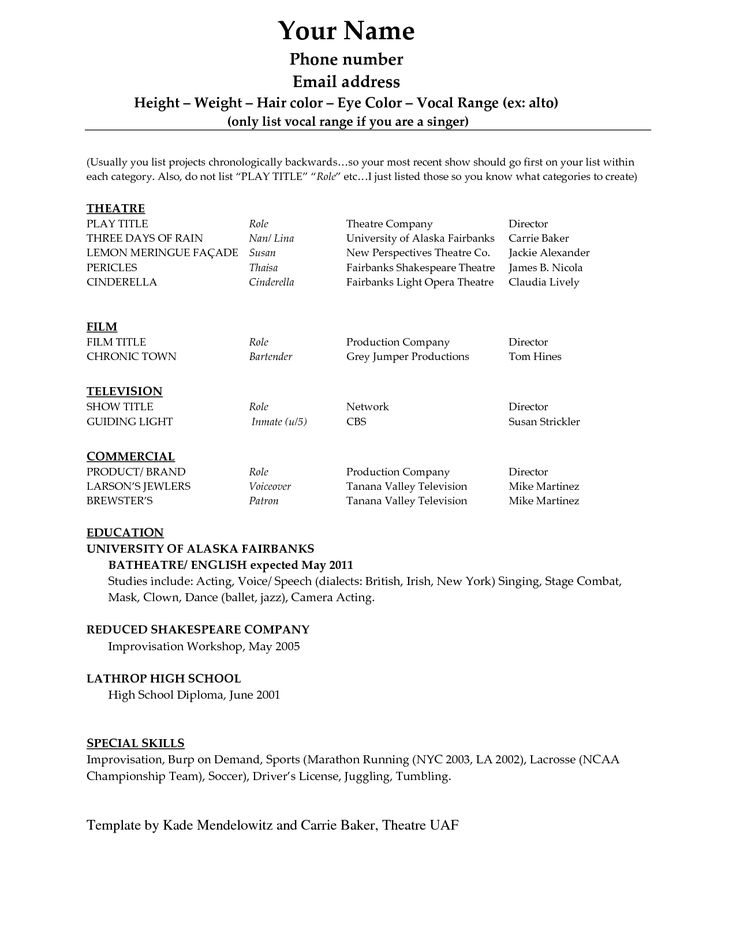 acting resume template word doc theatre musical