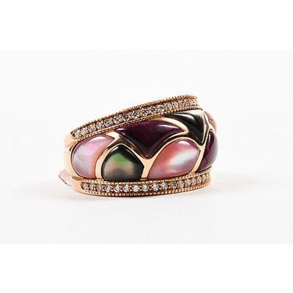 Pre-Owned Kabana Nwt $4099 14k Rose Gold Pink Mother of Pearl Diamond... ($2,890) ❤ liked on Polyvore featuring jewelry, rings, multi, cocktail rings, mother of pearl ring, pre owned diamond rings, rose gold ring and diamond rings