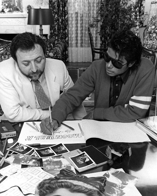 Michael Jackson designing the layout and typography for his autobiography Moonwalk.