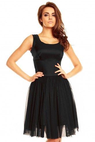 Balowa sukienka z tiulową spódnicą KM130 Czarny