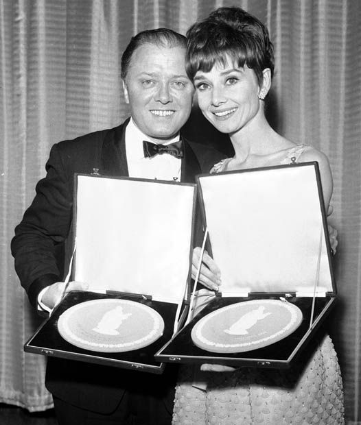 BAFTA Awards winners Richard Attenborough and Audrey Hepburn (for Charade)