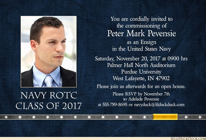 Blue Navy Insignia Commissioning Invitation