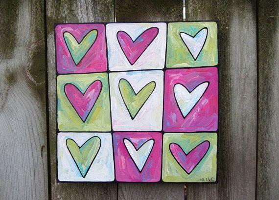 Custom Hearts acrylic on canvas painting via Etsy