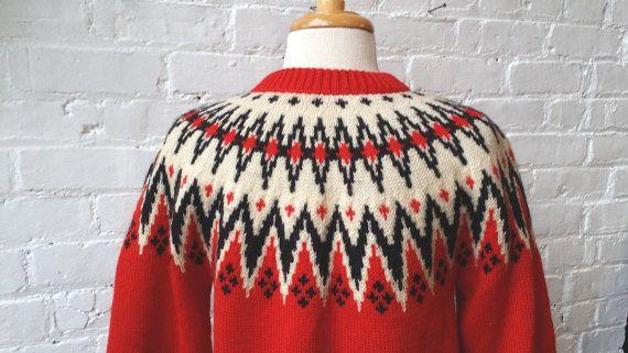 VTG 1960s Lulle Otterstad Red Wool Fair Isle by UXCVintage on Etsy