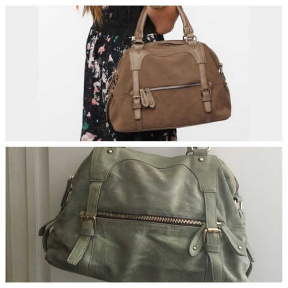 Remi and Reid pleather and suede mint bag. Remi and Reid pleather and suede mint bag. Used but good condition on exterior. Interior slightly stained, as shown in photo. Gold trim. Anthropologie Bags Satchels