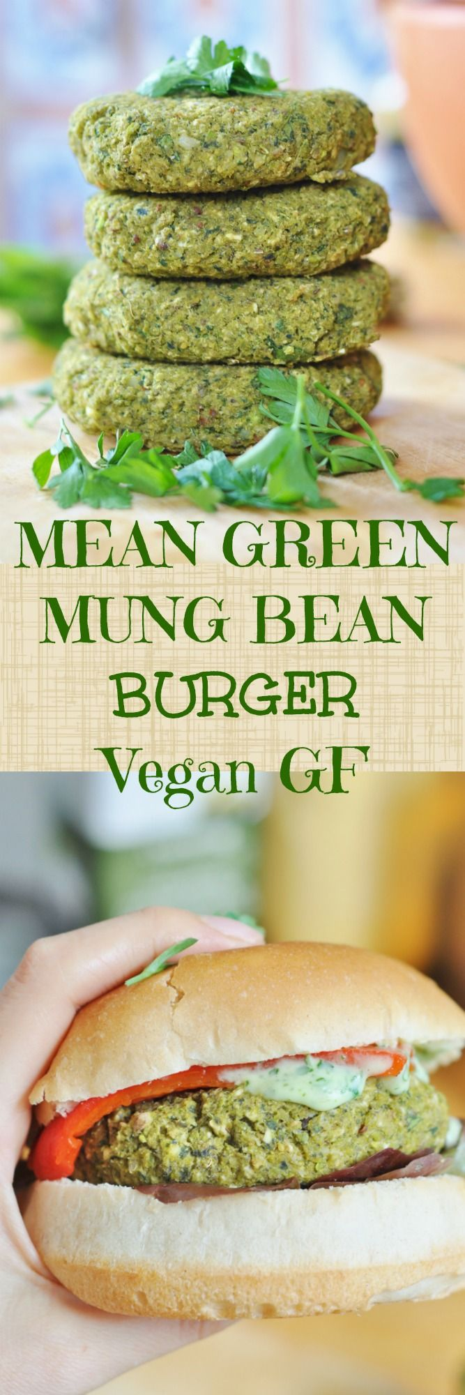 She's MEAN, She's GREEN and She's full of PROTEIN! Loaded with green veggies, Mung Bean Burger from An Ode To Mung Beans http://anodetomungbeans.com/2016/10/10/vegan-burger-series-lean-green-mung-bean-burger-gf-high-protein/