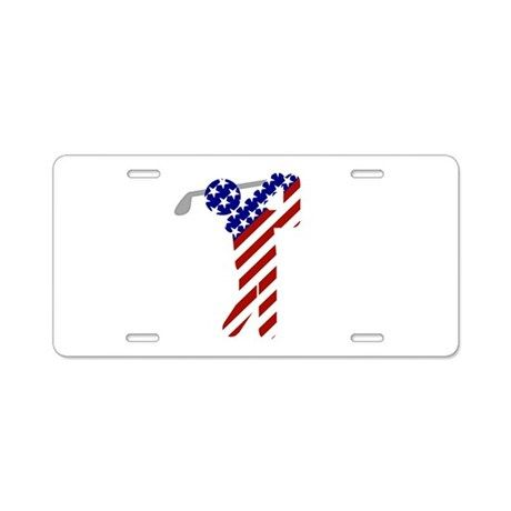 USA Mens Golf Aluminum License Plate on CafePress .com by Gravityx9 Designs - (high quality vanity plates are sturdy and printed on durable aluminum with premium inks that resist the elements, so your design will last for the long haul)  USA All-American Patriotic Golfer design is available on shirts, home decor, prints and more.