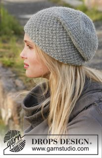 "Knitted DROPS hat with moss st in ""Nepal"". ~ DROPS Design"