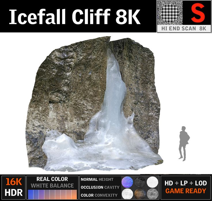 3D icefall cliff pack 5 model