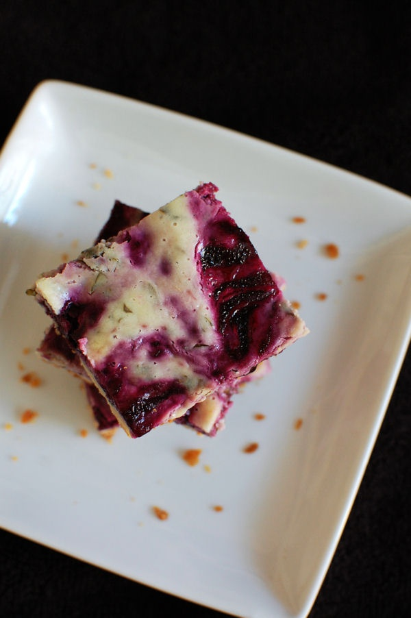 Blueberry Basil Goat Cheese Cake Bars | Beantown Baker