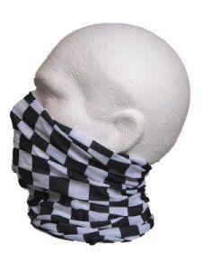 Multifonction Foulard Écharpe tube de cou chef cuire drapeau à damier blanc noir: Idéal pour toutes les activités extérieures et les sports…