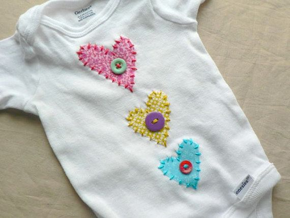 Items similar to Valentine's Day Heart Applique Onesie or Shirt You Pick Size and Colors on Etsy