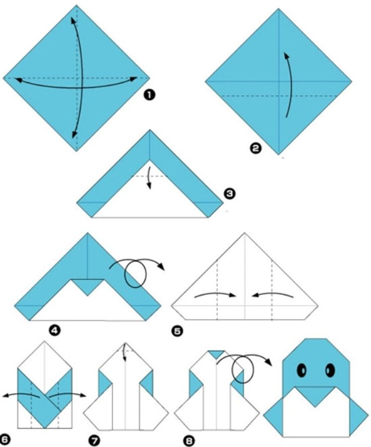Simple origami for kids and their parents. Selection of funny and cute figures. Pinguin