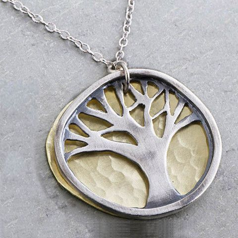 J & I Sterling Oak Tree with Brass Disc Necklace