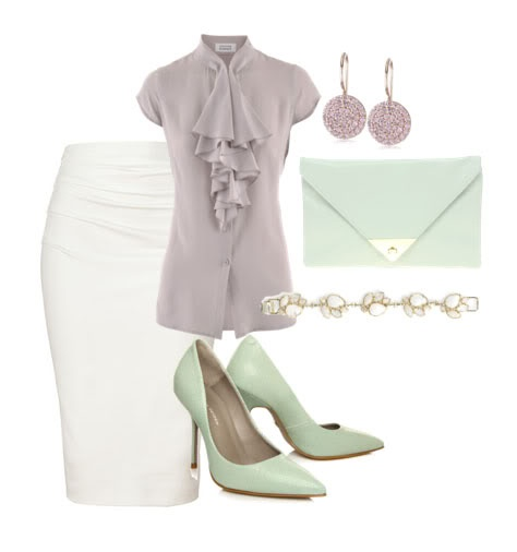 pastels  pencil skirt, LOVE IT. Jw fashion, modest...found these earings at Target. Mint green