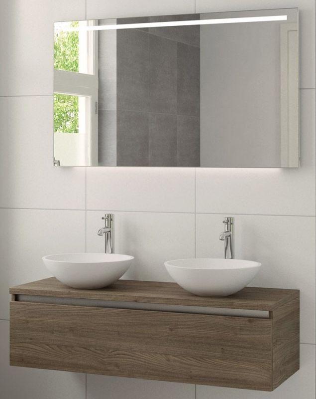 Bruynzeel Giro meubelset 120 cm. met spiegel met 2 wastafels, bardolino - 222483K | Badkamerwinkel.nl