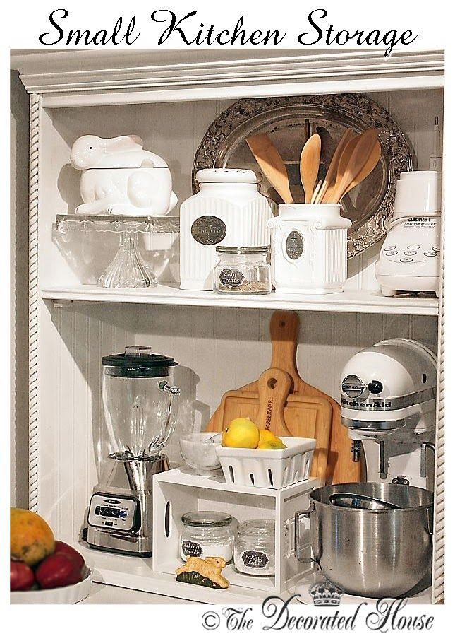 The Decorated House: ~ Small Kitchen Storage. Creating more storage in the kitchen by using a hutch or cabinet. Kitchen Open Shelves.