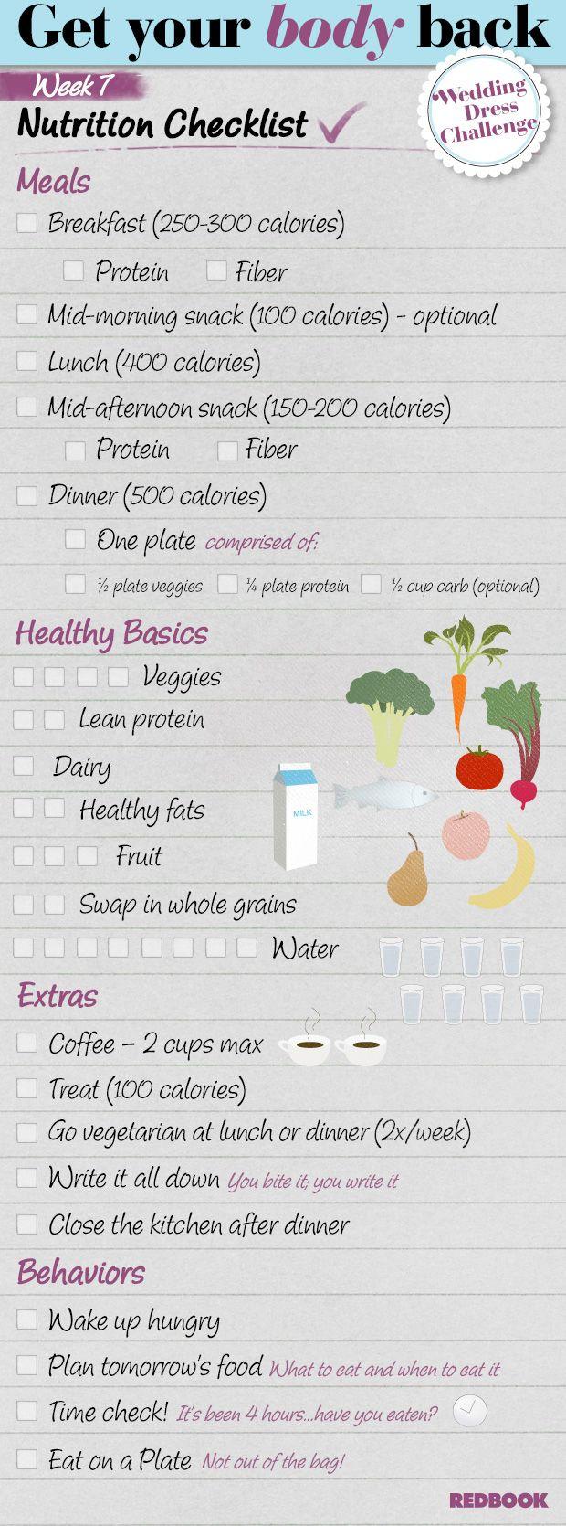 Wedding Dress Challenge Eating Checklist Week 7 - Redbook