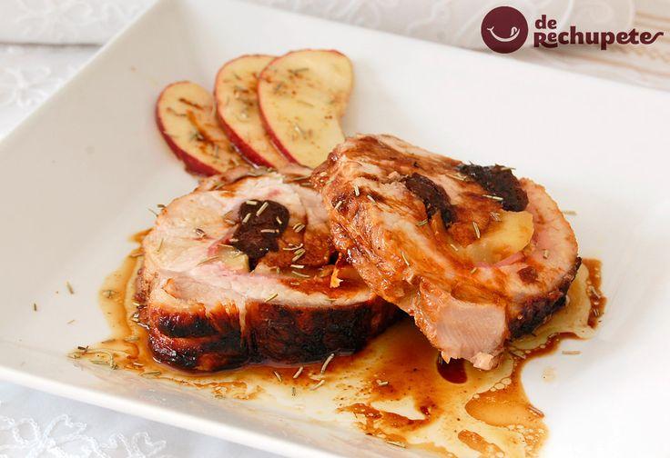 Como preparar un lomo de cerdo asado o al horno, una deliciosa receta de carne rellena de bacon y manzana con un toque de Pedro Ximénez.