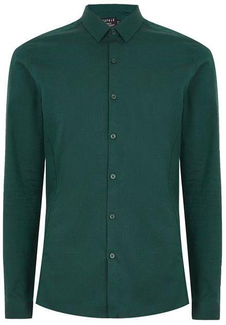 Topman Pine Green Muscle Shirt