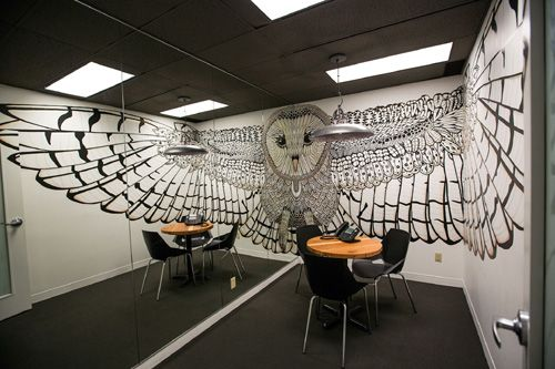 Stunning Owl Mural at One of the Hootsuite's Offices