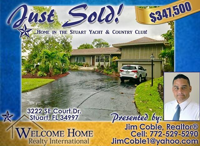 Please welcome your new neighbors! #JustSold #Stuart #fl #florida #welcomehonerealtyintl #whrintl #bluestar #martincounty #treasurecoast #sunny #soflo #realtor #realtorlife #realestate #buysellrent #like #follow #zillow #trulia #homesconnect #localrealtors - posted by Welcome Home Realty Int'l 🏡 https://www.instagram.com/whrintl - See more Real Estate photos from Local Realtors at https://LocalRealtors.com