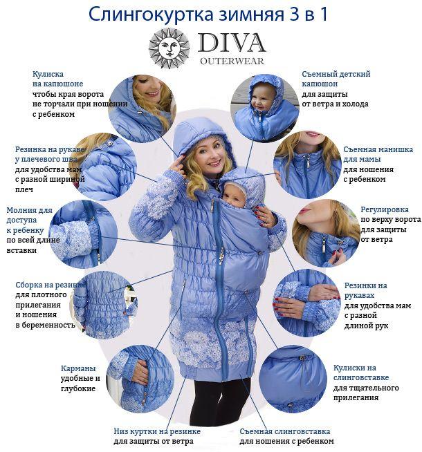vk.com/mama24 - Одежда для беременных. Зимняя слингокуртка 3 в 1 итальянского производителя Diva Outerwear, можно носить как слингокуртку, куртку для беременных и просто куртку!