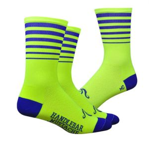 Handlebar Mustache Between the Lines (Hi Vis) Socks