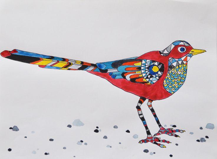 Red bird on beach. ink drawing by katrine mosegaard