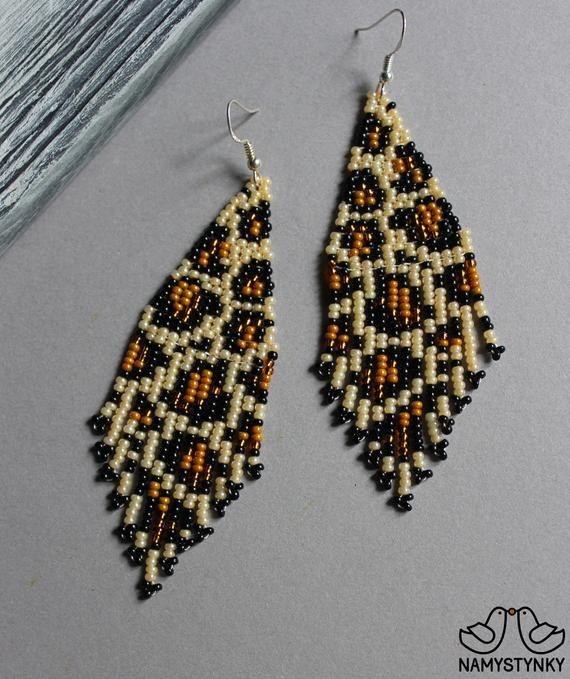 Leopard Beaded Earrings Animal Print Earrings Leopard Print Seed