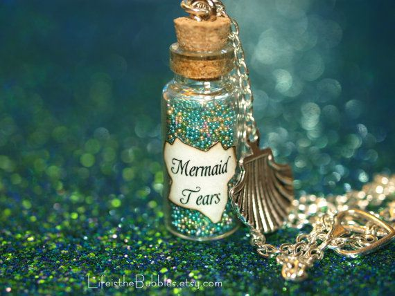 Mermaid Tears Bottle Necklace Sea Shell Charm by LifeistheBubbles