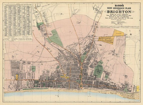 Old map of Brighton (UK), 1884.