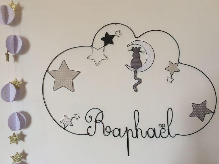 Réalisation d'un prénom en fil d'aluminium avec un chat, lune et étoiles très originale pour décorer la chambre de votre enfant dimensions : largeur 51 X hauteur 43 Personn - 19125988