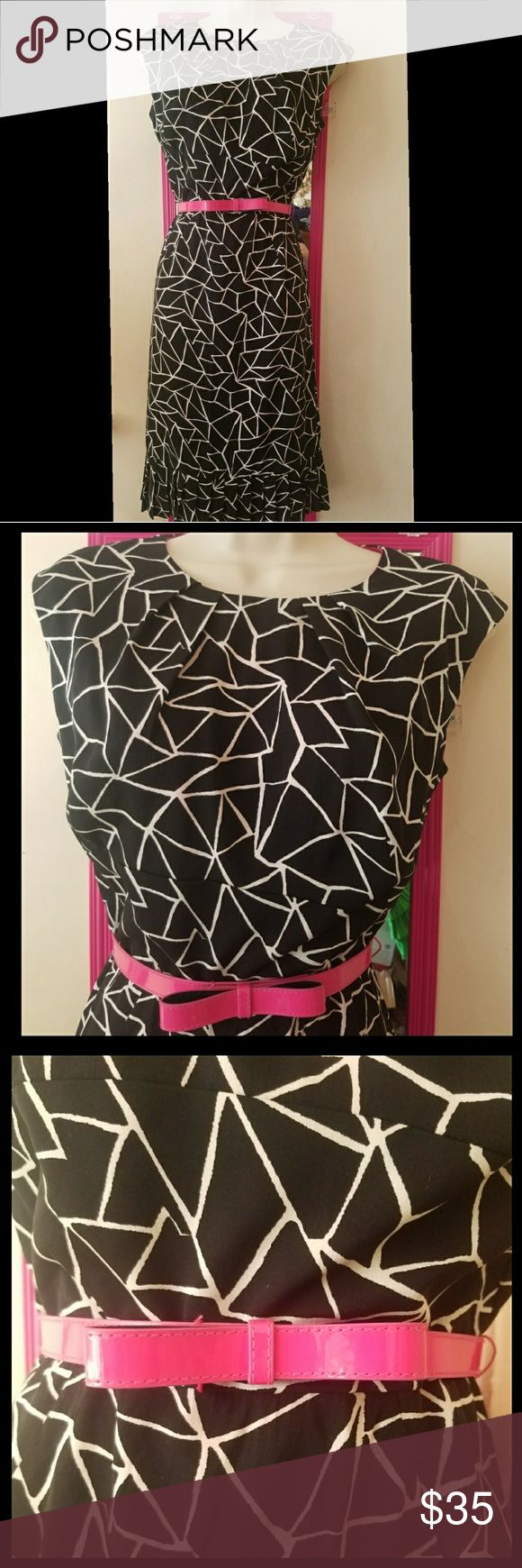Donna Ricco Stretchy Silk Geometric Dress Beautiful tank dress from Donna Ricco. Black and white geometric design. Sleeveless. Zips in the back. Comes with matching belt, shaped like a bow. Pleated neckline. Pleated ruffles at the bottom. Fully lined.  Shell is 94% silk and 6% spandex. Pink lining in a polyester spandex blend. Both the shell and the lining are stretchy.   Size 4. Bust 36 inches unstretched. Waist 28 inches unstretched. Hips 36 inches unstretched. Length 43 inches. Worn once…