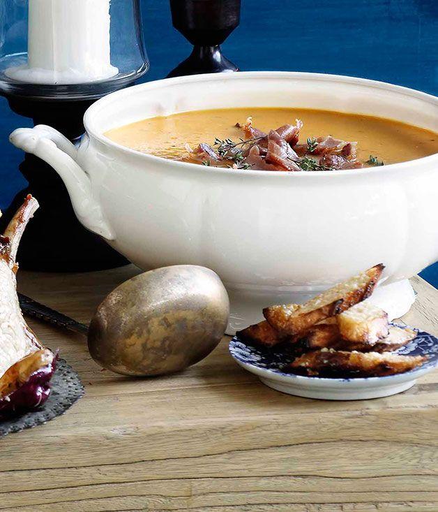 Roast pumpkin soup with pancetta and parmesan