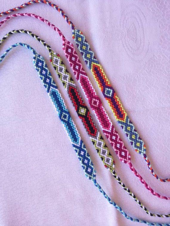 Colores trenzado pulsera pulsera amistad pulsera tejida a