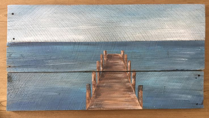 Dock on The Water, Acrylic Painting On Reclaimed Wood by AshesToArtMyranda on Etsy