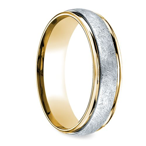 two toned swirl s wedding ring in platinum yellow
