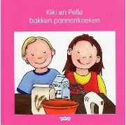 Prentenboek - Kiki en haar vriendje Pelle bakken pannenkoeken en eten deze op met haar broer Pepijn. Vierkant prentenboek met statische tekeningen in kleur. Vanaf ca. 4 jaar.