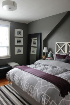 Adding purple to grey bedroom – Grey Duvet purple sheets and accents. it's Benjamin Moore Asphalt Gray on the walls, and the trim is cloud white – both in an Eggshell finish. | best stuff