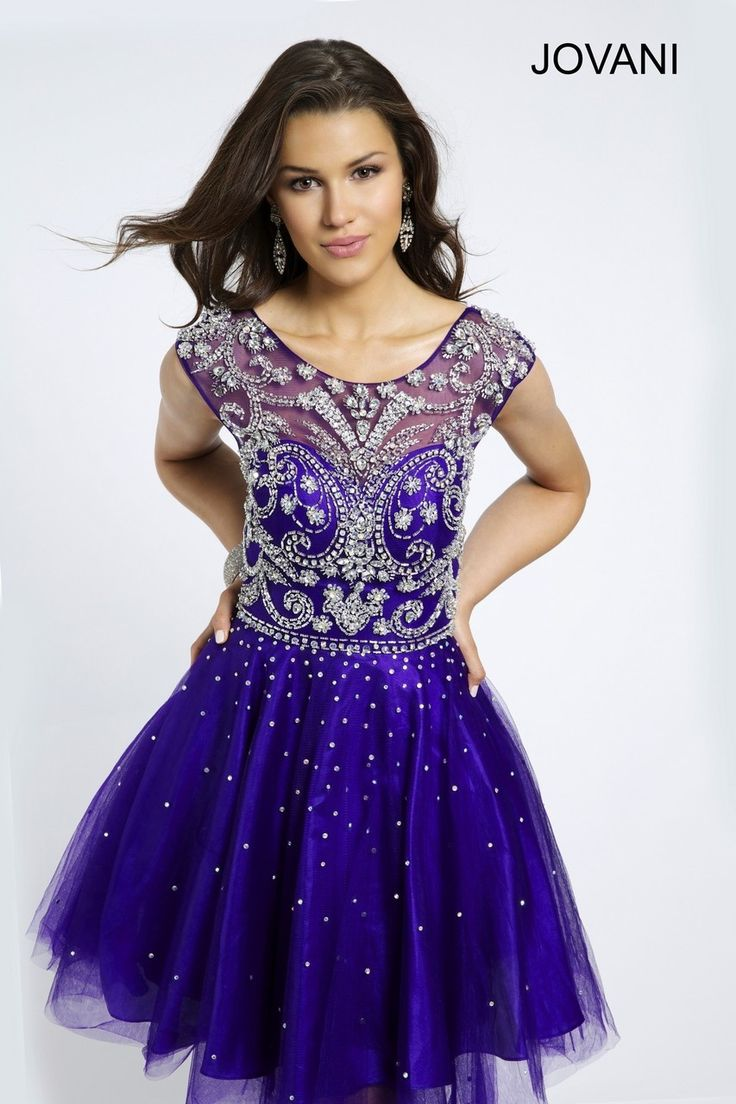 Jovani 20200  Cute Jovani fit and flare dress features intricate beading at the neckline with a tulle skirt http://www.effies.com/jovani-20200/