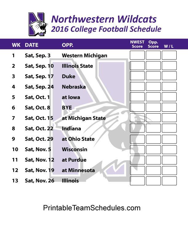 Northwestern Wildcats  Football Schedule 2016. Printable Schedule Here - http://printableteamschedules.com/collegefootball/northwesternwildcats.php