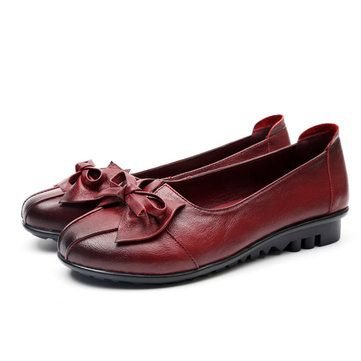 Hot-sale Socofy Leather Bowkont Soft Casual Slip On Flat Loafers - NewChic Mobile.