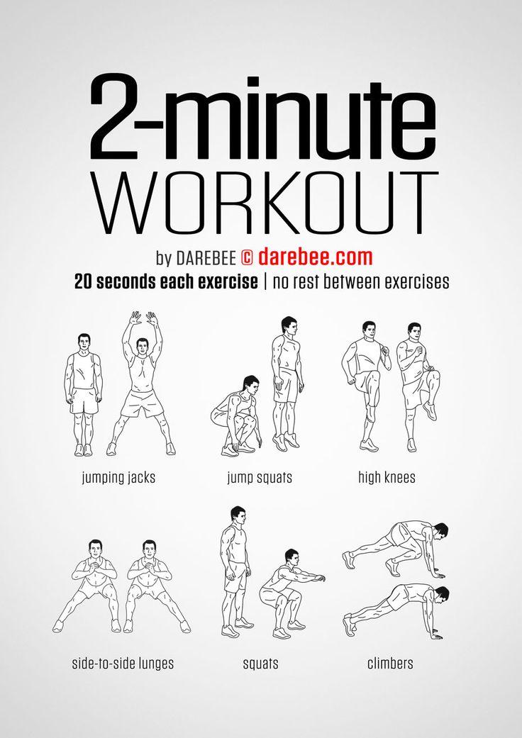 DAREBEE.com 2 minute workout/ двухминутная кардио-тренировка, которая подойдёт для новичков  /   фитнес, воркаут, упражнения, похудение, здоровье, зож